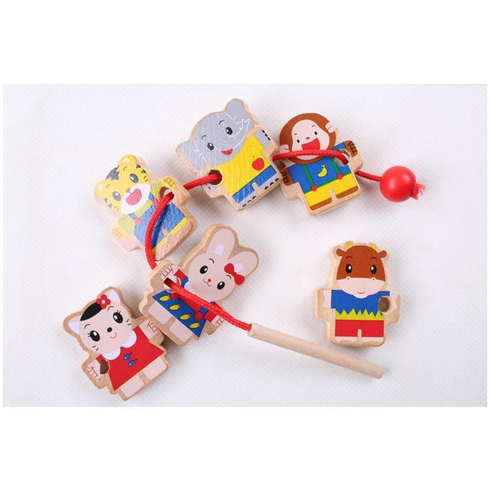 Funny wooden cartoon Tiger beaded toy personized Children puzzle toy