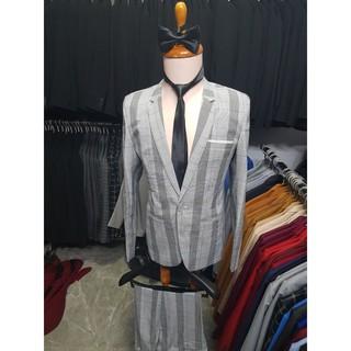 Bộ vest nam ôm body màu xám sọc ca rô cá tính