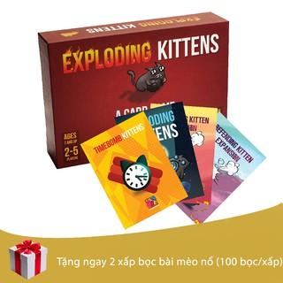 Combo Mèo Nổ Exploding Kittens+4 bản mở rộng+tặng 2 bọc bài