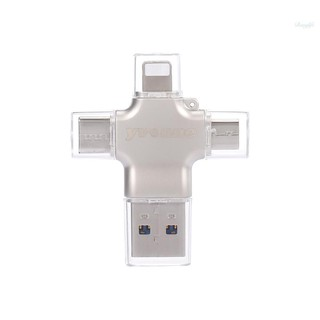 Ready in stock yvonne Y23 USB2.0 U Disk 32GB USB Lightnning Micro USB Type-C Four-In-One High Speed OTG U Disk for Phone/PC/Laptop Silver