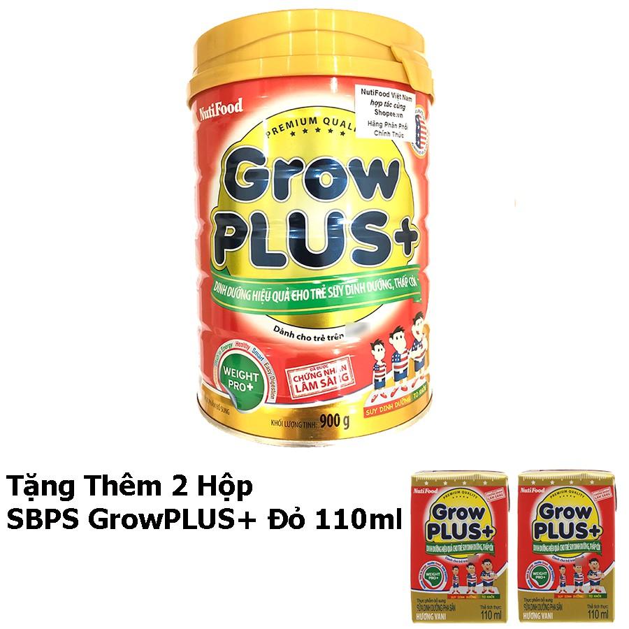 [Tặng Thêm 2 Hộp SBPS GrowPLUS+ Đỏ 110ml] Sữa Bột GrowPLUS+ Đỏ Lon 900g Suy Dinh Dưỡng - Hàng Chính Hãng - Grow Plu