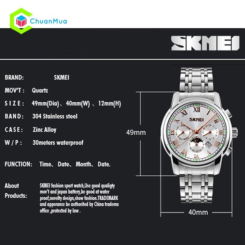 Đồng hồ Nam SKMEI 9121 Chống Nước 3ATM Mặt 40x49mm - DHA448 SK9121