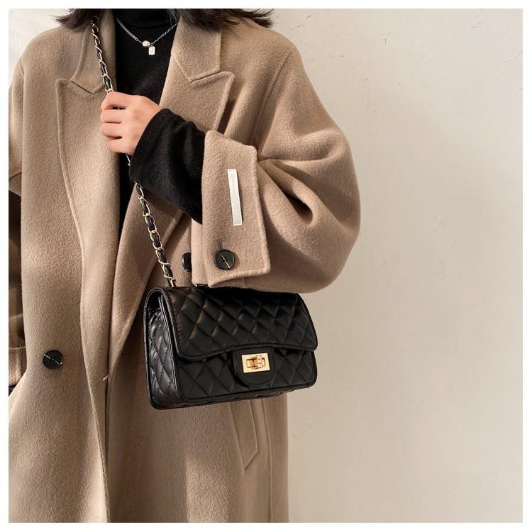 túi xách nữ đeo chéo thời trang, túi đeo chéo nữ đi chơi ô trám nắp xoay CHIP XINH TX21