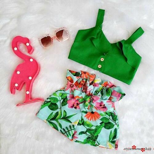 ♪✿✿♪Flamingo Toddler Baby Kids Girls Summer Outfits Crop Clothes Sets