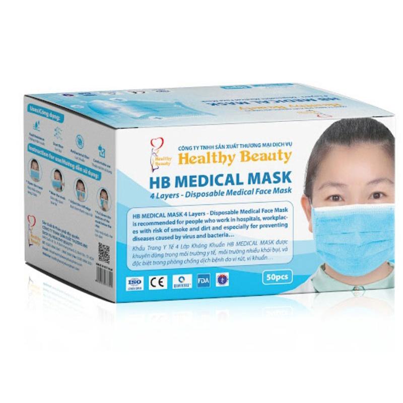Khẩu trang y tế,khẩu trang y tế 4 lớp kháng khuẩn màu xanh HB medical