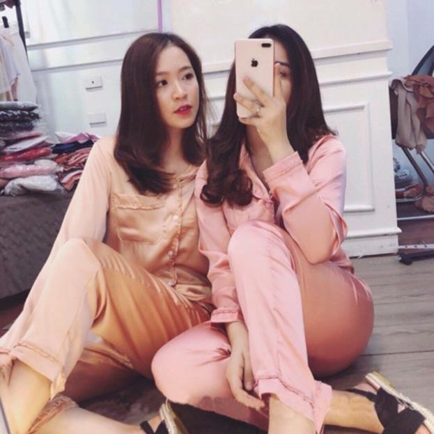 Bộ đồ Pijama lụa Bộ lụa dài tay viền bèo xinh xắn nơ túi [Loại 1 Cao cấp