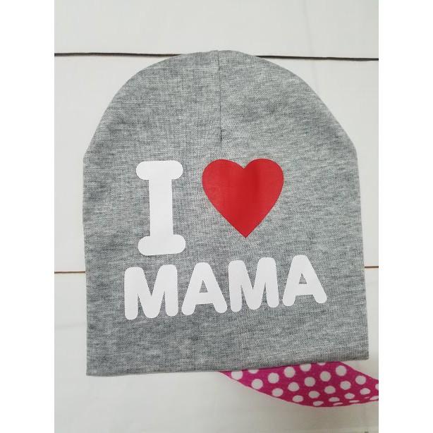 Mũ len, Nón len cho bé I Love Mama, I Love Papa dễ thương