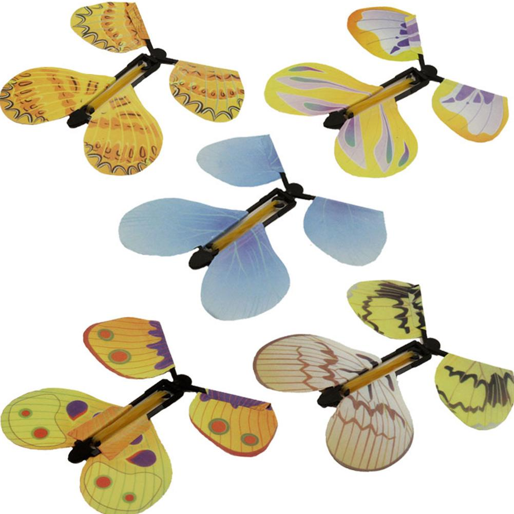 5PCS Creative Children Flying Butterfly Transmission Magic Prop Funny Tricks Classic Prank plastic butterfly props