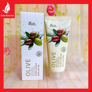 [chuẩn auth] Gel dưỡng tay, chân Ekel Olive Natural Intensive Hand Cream cao cấp Hàn Quốc tuýp 100ml