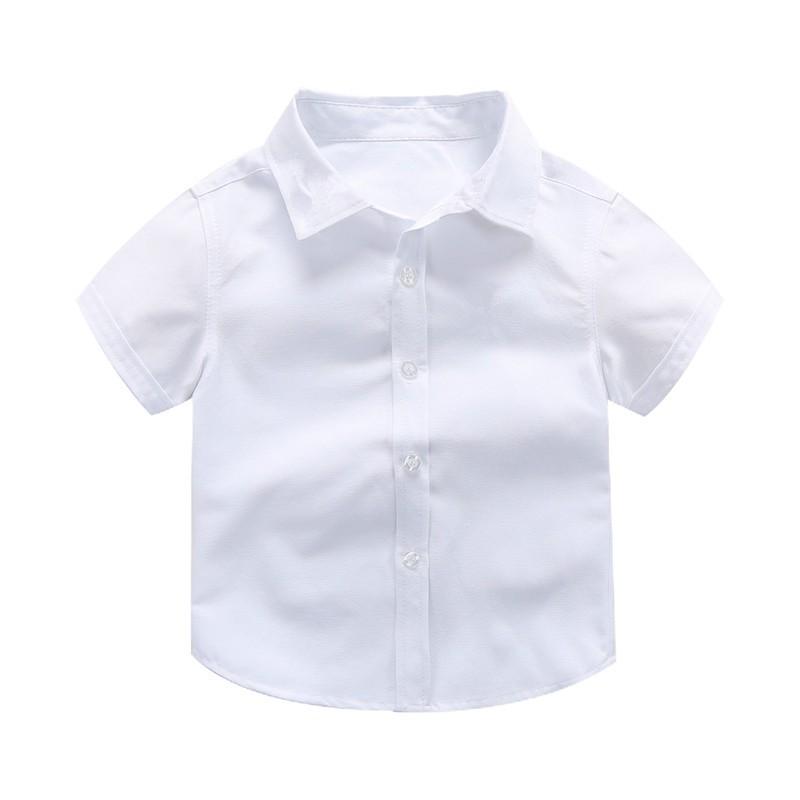 Áo sơ mi trắng nam bán buôn đồng phục biểu diễn sinh viên nam áo sơ mi trắng trẻ em ngắn tay áo sơ mi ngắn tay
