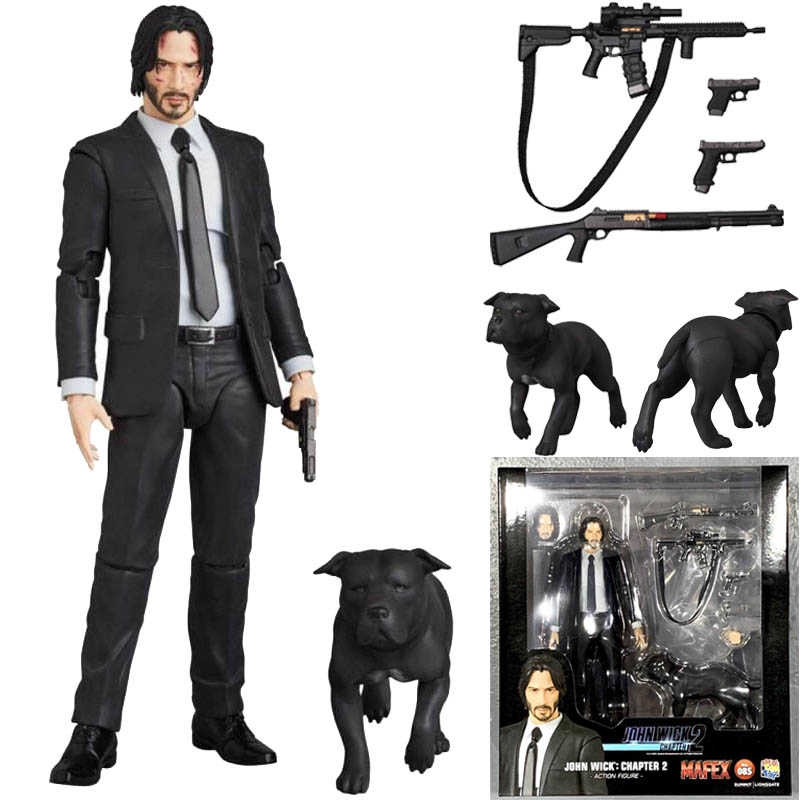 15cm New Type Mafex 085 JOHN WICK Chapter 2 With Dog PVC Action Figure Collectible Model Toys Gifts