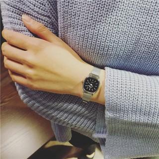 Đồng hồ nữ Jis dây kim loại mặt vuông nhỏ xinh 26mm