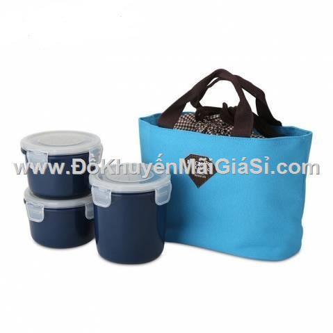 Bộ hộp cơm Lock&Lock kèm túi giữ nhiệt xanh dương