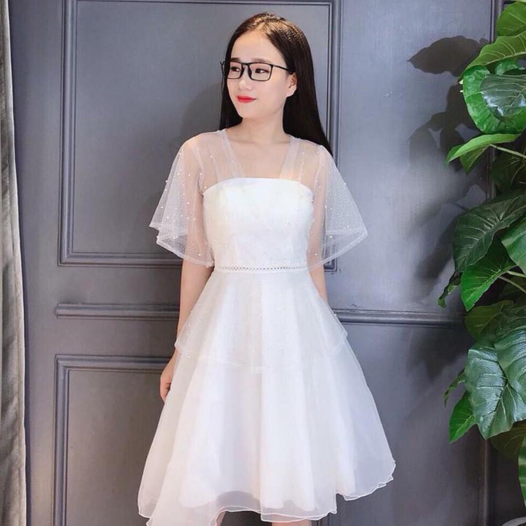 Mặc gì đẹp: Sang chảnh với Đầm dự tiệc trắng xòe đính chuỗi sang chảnh bậc nhất [ HÀNG CÓ SẴN ]