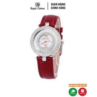 [Mã FASHIONRNK giảm 10K đơn 50K] Đồng hồ nữ chính hãng Royal Crown 3628 dây da đỏ thumbnail