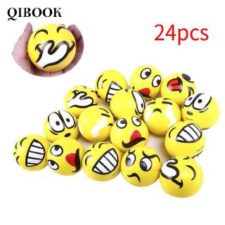 24pcs Emoticon Stress Balls For Kids Adult 63mm Relief Smile Face Funny