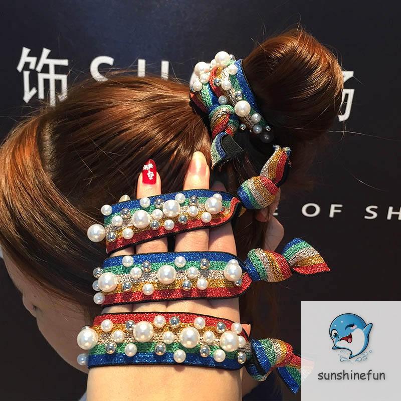 1 Pcs Girl Elastic Hair Rope Leopard Printed Faux Pearl Decor Hair Band Kid Ponytail Loop