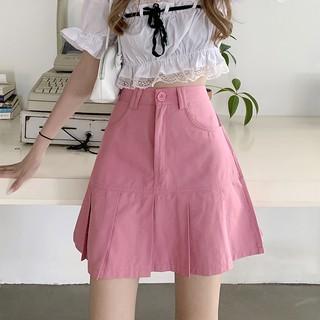 Chân Váy Chữ A Lưng Cao Xếp Ly Màu Hồng Thời Trang Mùa Hè Mới Cho Nữ 2021