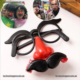[Tech] Funny Clown Glasses Costume Ball Round Frame Red Nose w/Whistle Mustache [VN]