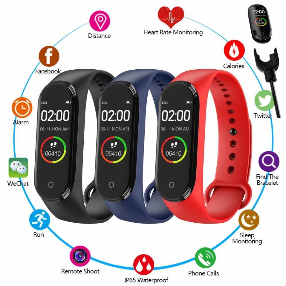 Vòng Đeo Tay Thông Minh, Đồng Hồ Thông Minh M4 Kết Nối Bluetooth, Chống Nước, Theo Dõi Sức Khỏe, Bước Chạy, Nhịp Tim