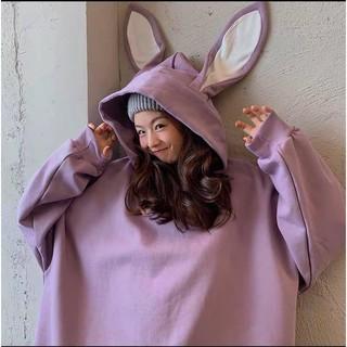 Áo Khoác Hoodie Nỉ Tai Thỏ Form Rộng 3 Màu Siêu Cute thumbnail