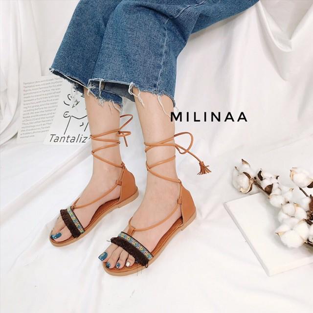 Giày sandal thổ cẩm buộc dây màu đen phong cách boho - tuaxanh giá rẻ