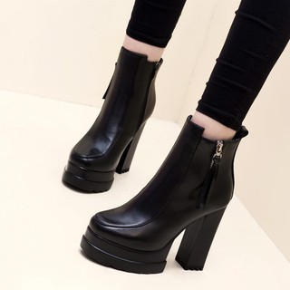 Giày Bốt Cao Gót 10-12cm Lót Nhung 34 Size 2020