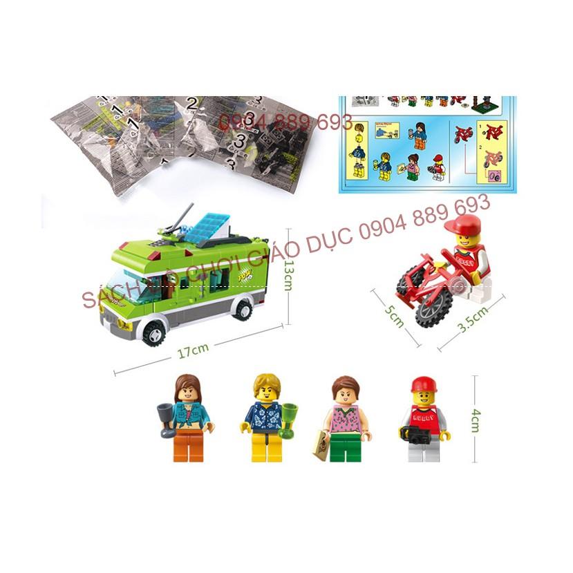 Xếp hình kiểu lego xe bus đi du lich 380 chi tiết