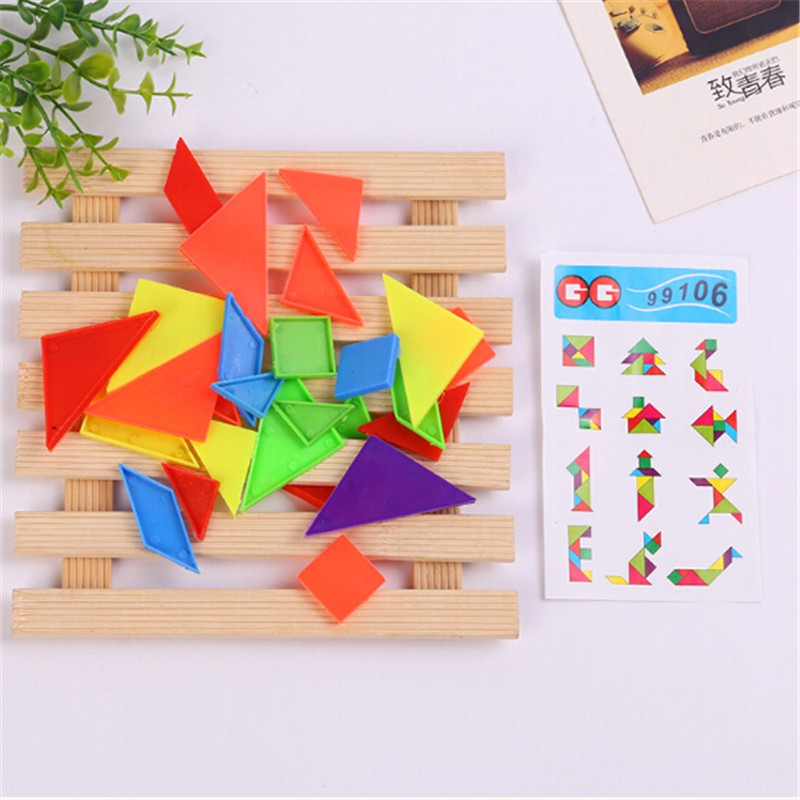 LOVEU* 2Set 7-rainbow color tangram diy plastic brain puzzle kids educational toys