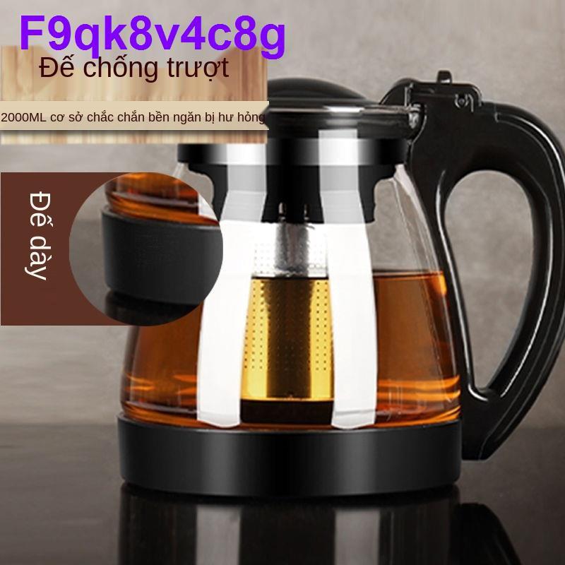 Ấm trà thủy tinh gia dụng đun nước nhiệt độ cao công suất lớn với bộ lọc [15 tháng 3]