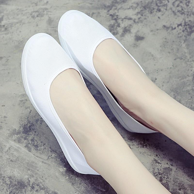 Giày y tá trắng đế phẳng- Giày nữ mùa hè-  dép y tế