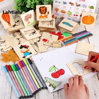 Lahtialu Children Drawing Template Boards Wooden Graffiti Interactive Educational Toys