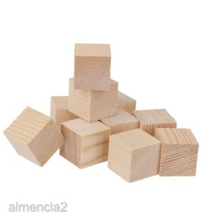 10Pc Unfinished Wooden Block Cubes Embellishment for DIY Craft Hobby Toy