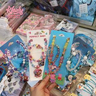 Set 2 món vòng tay và dây chuyền hình Frozen, Peppa Pig, Dog siêu xinh dành cho trẻ em, bé gái thumbnail