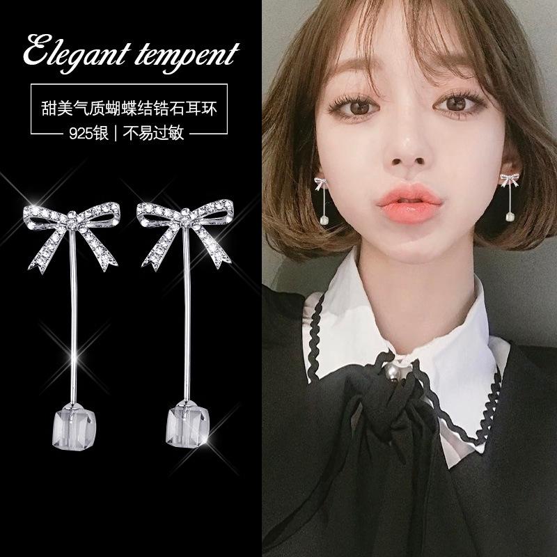 สวย s 925 sterling silver กุทัณฑ์ stud earrings