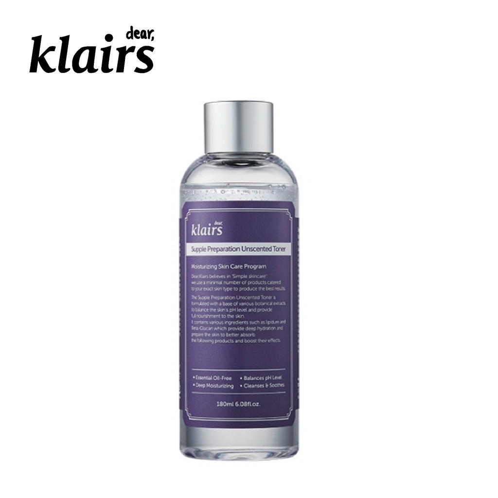 Nước hoa hồng Dear Klairs Supple Preparation Unscented Toner 180ml