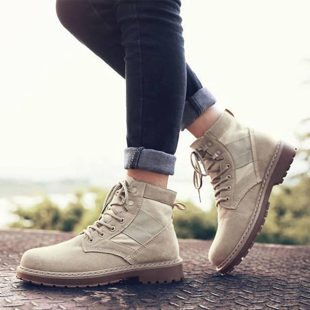 Fashion wild รองเท้าหนังมาร์ติน รองเท้าหนังหุ้มข้อ รองเท้าลำลอง รองเท้าแฟชั่นสไตล์บูทอังกฤษashion wild รองเท้าหนังมาร์ติ