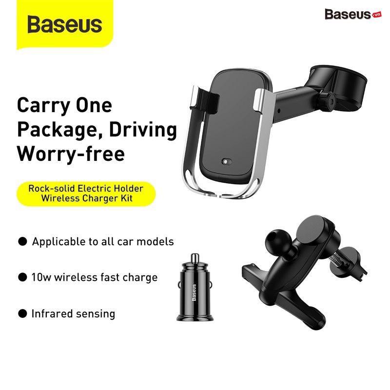 [Mã 267ELSALE hoàn 7% đơn 300K] Bộ giá đỡ điện thoại gắn kính hoặc táp lô tích hợp sạc nhanh không dây dùng trên xe hơi