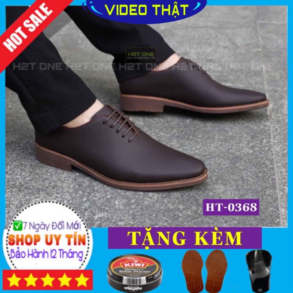 Giày tây nam công sở cao cấp - da bò mềm mại - đế cao su diễu - phong cách sang trọng lịch lãm HT0368