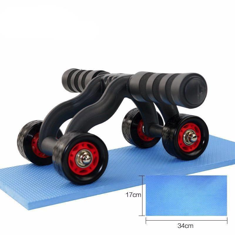 Con lăn tập bụng 4 bánh cao cấp (tặng kèm thảm), Máy tập cơ bụng con lăng bánh xe tập thể dục nam nữ, kìm tập cơ tay