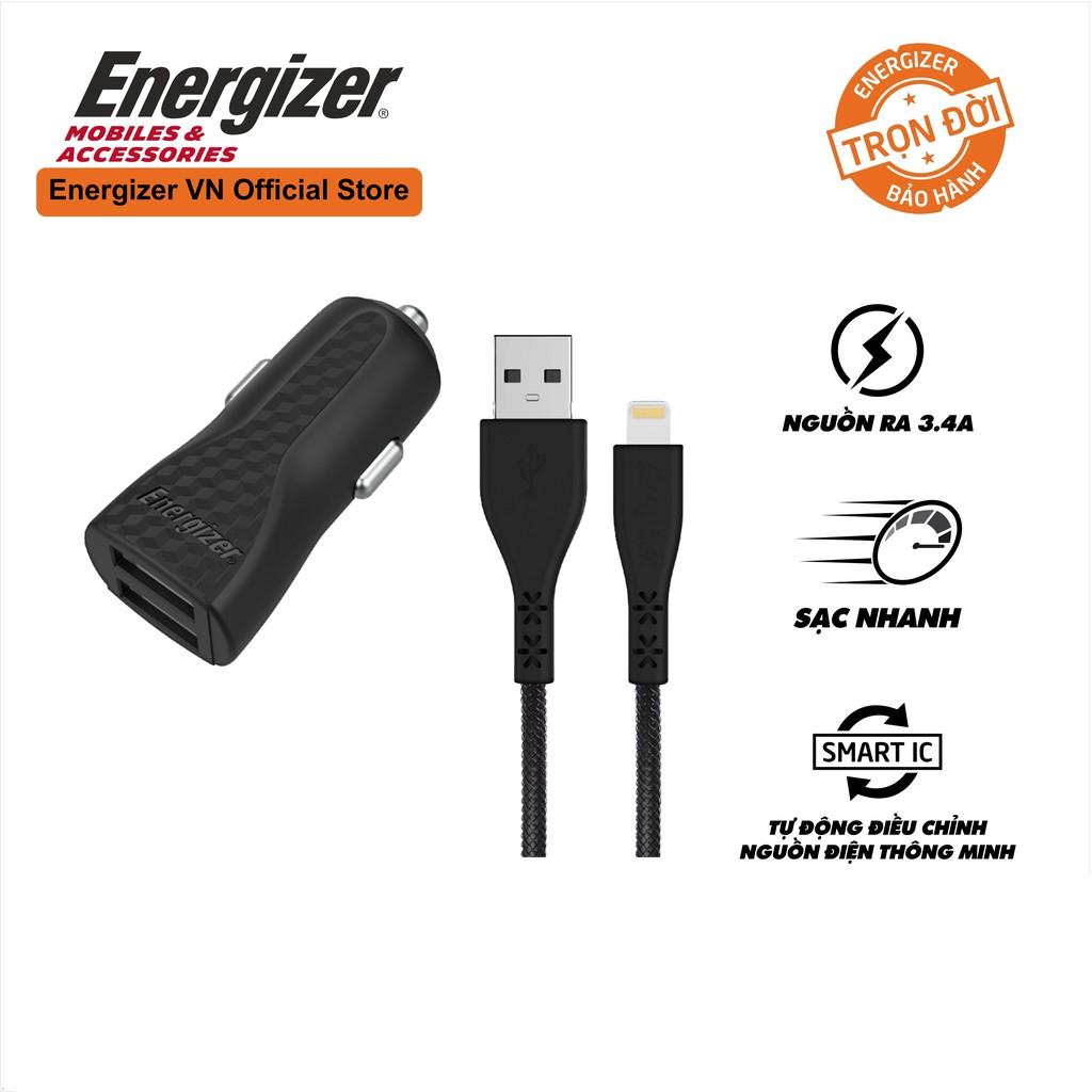 Sạc xe hơi Energizer 3.4A 2 Cổng USB màu đen, kèm cáp lightning - DC2CLLIM