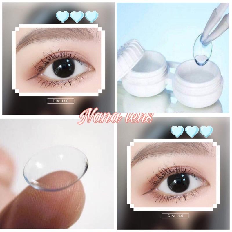 Lens- Kính áp tròng trong suốt cận (full độ từ 1 đến 6 độ) lens sử dụng 1 năm tặng kèm khay đựng – Nana lens