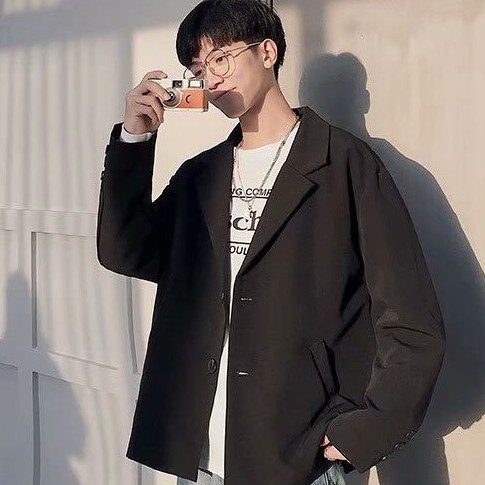 [2 lớp]  Áo Blazer Nam phong cách Hàn Quốc  BZ01 Form Dáng Rộng Dài Tay Áo Khoác Nam 2 Lớp Thời Trang HERO
