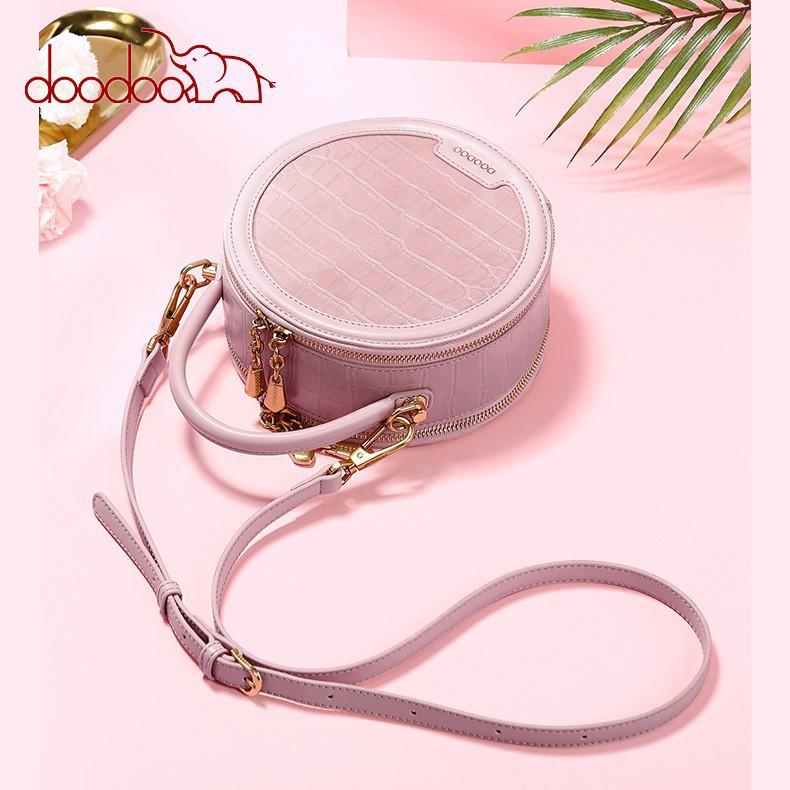 Túi đeo chéo nữ DOODOO kiểu dáng tròn thời trang Hàn Quốc D8833 Hàng Chính Hãng