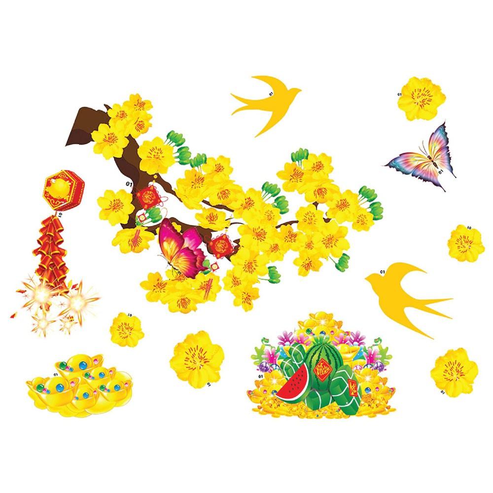 Decal nhựa trang trí tết Hoa Mai, Hoa Đào, Bánh chưng, Câu Đối, Chim én