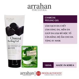 Tẩy da chết Arrahan Charcoal Peeling Gel 180ml chính hãng, chiết xuất từ than hoạt tính + Tặng 01 mặt nạ dưỡng da