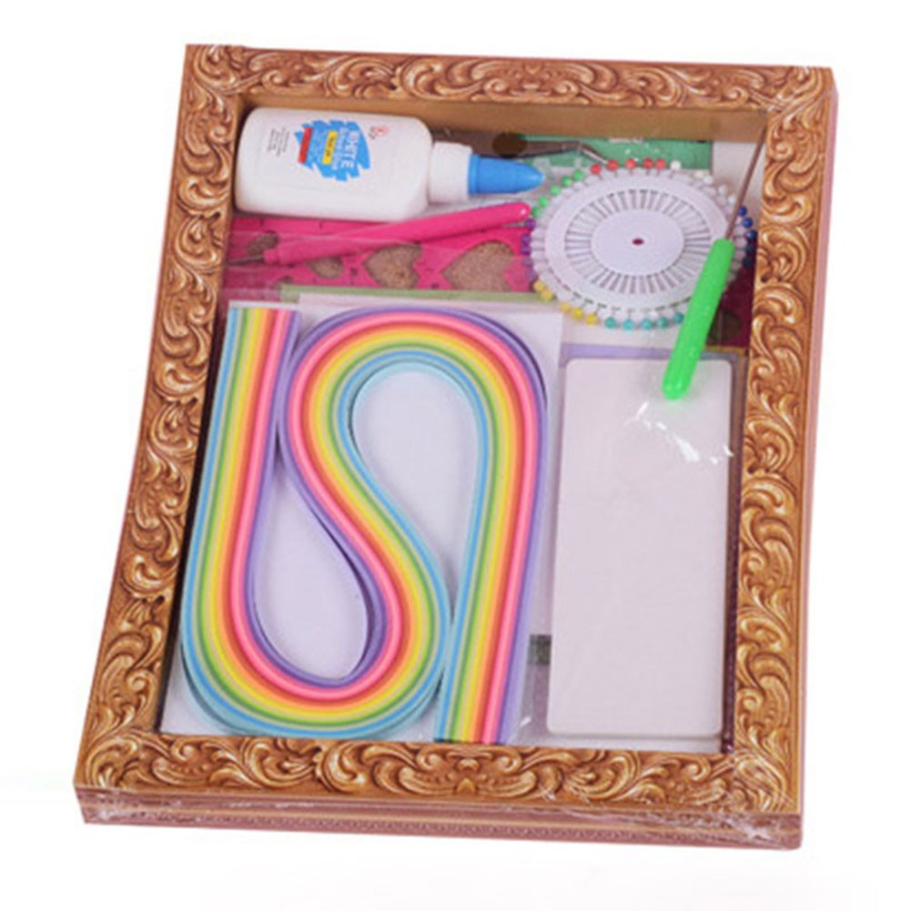 ♥superH♥1 set Paper Quilling Kit Template Mould Board Tweezer Pins Slotted Card 26x21CM