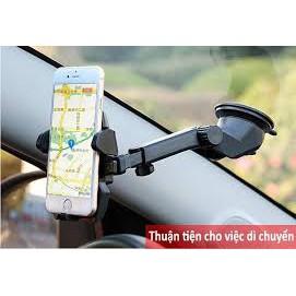 Kẹp điện thoại xe hơi ô tô đa năng xoay 360 độ, cổ dài ,có miếng hút tiện lợi