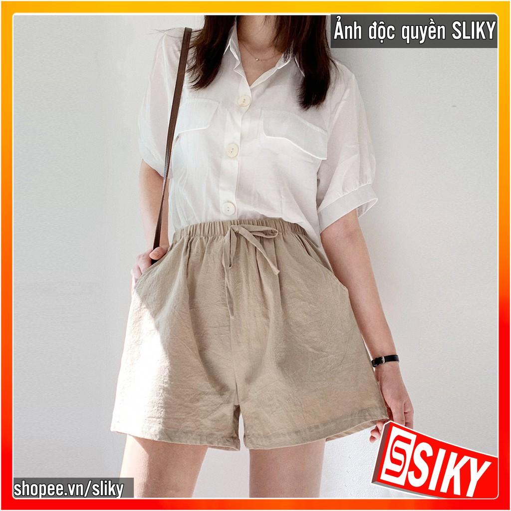 Quần shorts nữ đẹp ống rộng cạp chun chất đũi - QDD - SLIKY