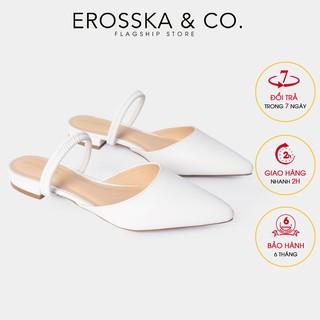 Giày đế bệt Erosska mũi nhọn hở gót phối dây cao 2cm màu trắng_EL002